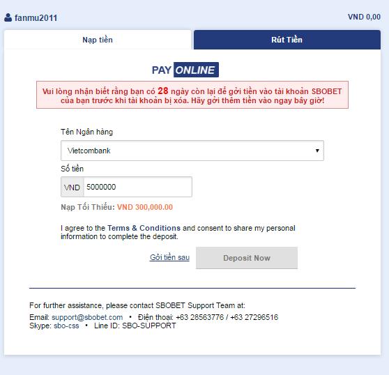 Internet Banking Sbobet