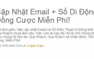 Cập nhật email và SDT để nhận 188,000 VND miễn phí từ 188bet