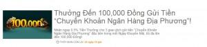 Gửi tiền chuyển khoản ngân hàng, nhận 100.000 VND từ nhà cái 188bet