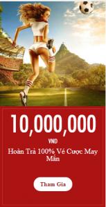 Vé cược thể thao VWin may mắn, hoàn cược 100% lên tới 10,000,000 VND