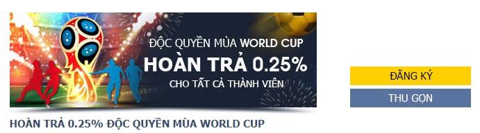 M88 khuyến mãi độc quyền hoàn trả 0.25% mùa World Cup